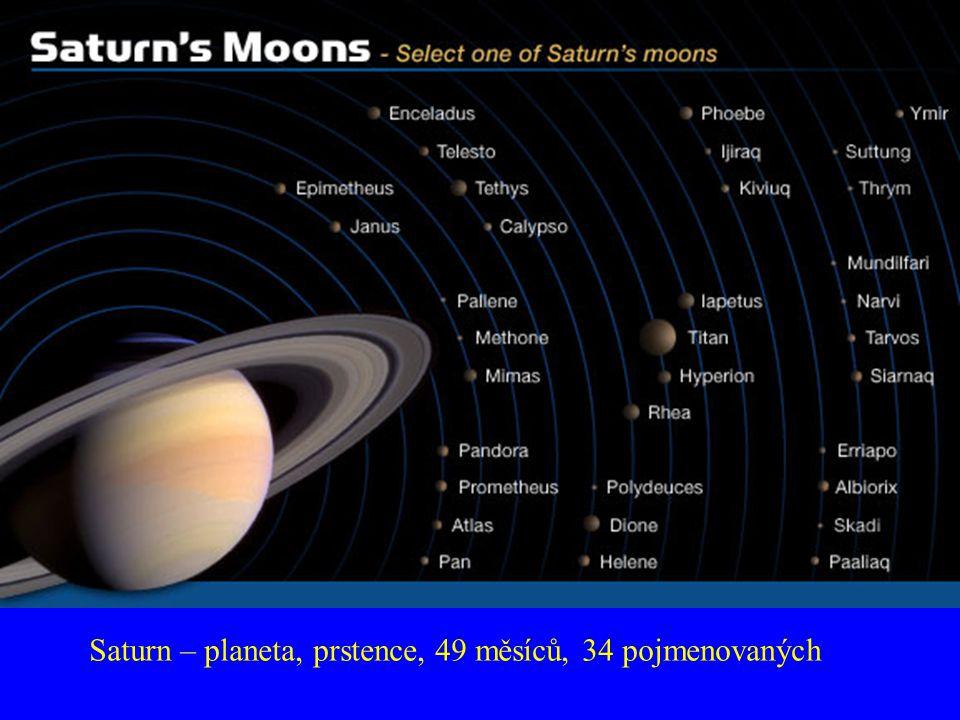 Saturn – planeta, prstence, 49 měsíců, 34 pojmenovaných