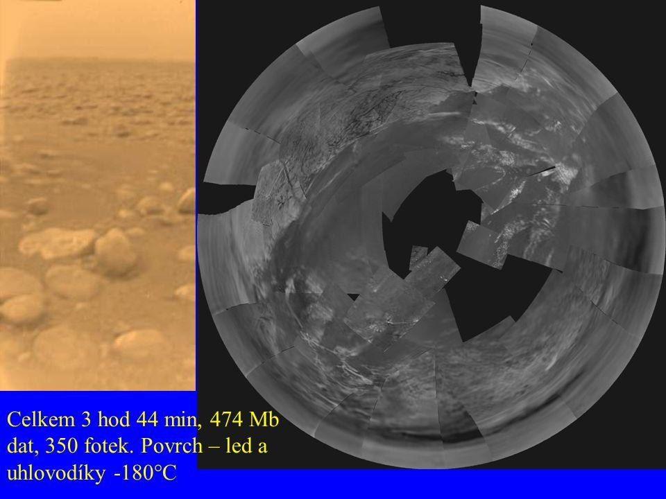 Celkem 3 hod 44 min, 474 Mb dat, 350 fotek. Povrch – led a uhlovodíky -180°C