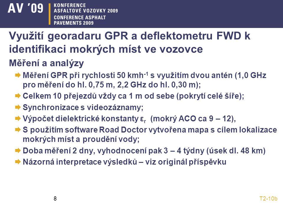 T2-10b8 Využití georadaru GPR a deflektometru FWD k identifikaci mokrých míst ve vozovce Měření a analýzy  Měření GPR při rychlosti 50 kmh -1 s využitím dvou antén (1,0 GHz pro měření do hl.