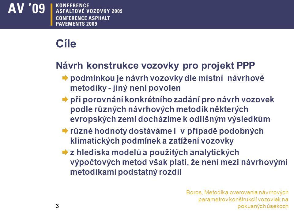 Boros, Metodika overovania návrhových parametrov konštrukcií vozoviek na pokusných úsekoch3 Cíle Návrh konstrukce vozovky pro projekt PPP  podmínkou je návrh vozovky dle místní návrhové metodiky - jiný není povolen  při porovnání konkrétního zadání pro návrh vozovek podle různých návrhových metodik některých evropských zemí docházíme k odlišným výsledkům  různé hodnoty dostáváme i v případě podobných klimatických podmínek a zatížení vozovky  z hlediska modelů a použitých analytických výpočtových metod však platí, že není mezi návrhovými metodikami podstatný rozdíl