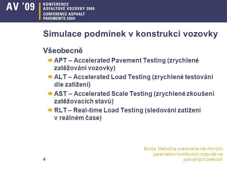 Boros, Metodika overovania návrhových parametrov konštrukcií vozoviek na pokusných úsekoch4 Simulace podmínek v konstrukci vozovky Všeobecně  APT – Accelerated Pavement Testing (zrychlené zatěžování vozovky)  ALT – Accelerated Load Testing (zrychlené testování dle zatížení)  AST – Accelerated Scale Testing (zrychlené zkoušení zatěžovacích stavů)  RLT – Real-time Load Testing (sledování zatížení v reálném čase)