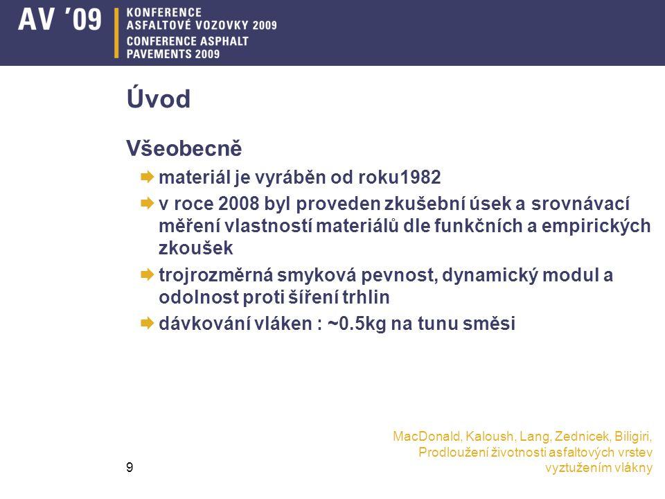 MacDonald, Kaloush, Lang, Zednicek, Biligiri, Prodloužení životnosti asfaltových vrstev vyztužením vlákny9 Úvod Všeobecně  materiál je vyráběn od roku1982  v roce 2008 byl proveden zkušební úsek a srovnávací měření vlastností materiálů dle funkčních a empirických zkoušek  trojrozměrná smyková pevnost, dynamický modul a odolnost proti šíření trhlin  dávkování vláken : ~0.5kg na tunu směsi