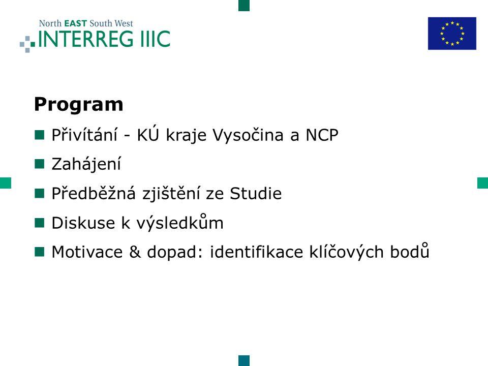 Program n Přivítání - KÚ kraje Vysočina a NCP n Zahájení n Předběžná zjištění ze Studie n Diskuse k výsledkům n Motivace & dopad: identifikace klíčových bodů