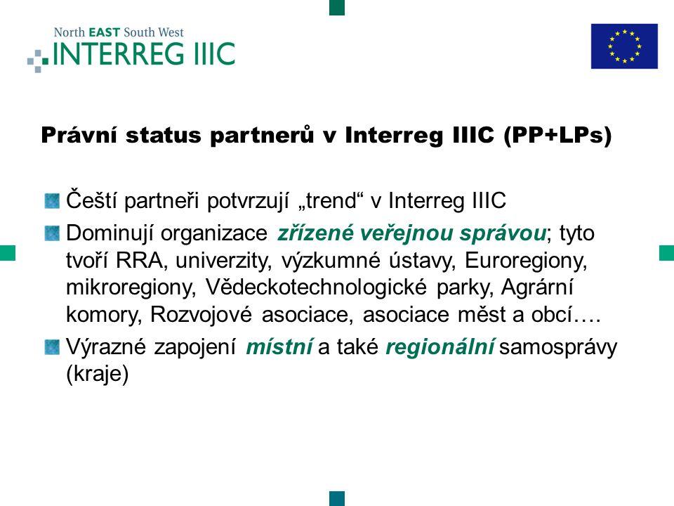 """Právní status partnerů v Interreg IIIC (PP+LPs) Čeští partneři potvrzují """"trend v Interreg IIIC Dominují organizace zřízené veřejnou správou; tyto tvoří RRA, univerzity, výzkumné ústavy, Euroregiony, mikroregiony, Vědeckotechnologické parky, Agrární komory, Rozvojové asociace, asociace měst a obcí…."""