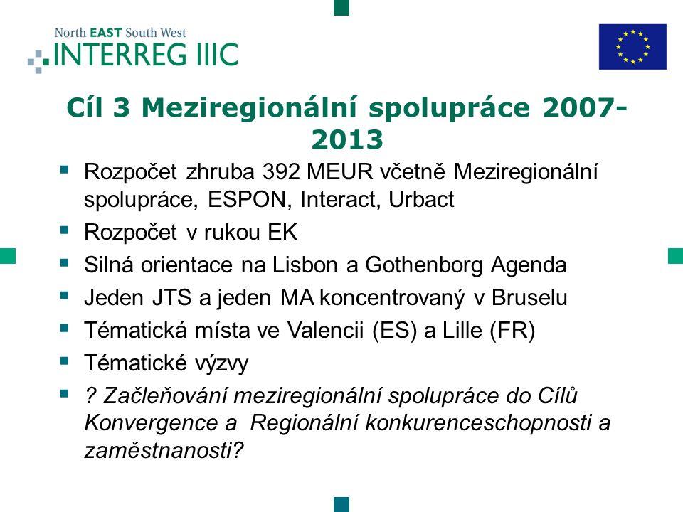  Rozpočet zhruba 392 MEUR včetně Meziregionální spolupráce, ESPON, Interact, Urbact  Rozpočet v rukou EK  Silná orientace na Lisbon a Gothenborg Agenda  Jeden JTS a jeden MA koncentrovaný v Bruselu  Tématická místa ve Valencii (ES) a Lille (FR)  Tématické výzvy  .