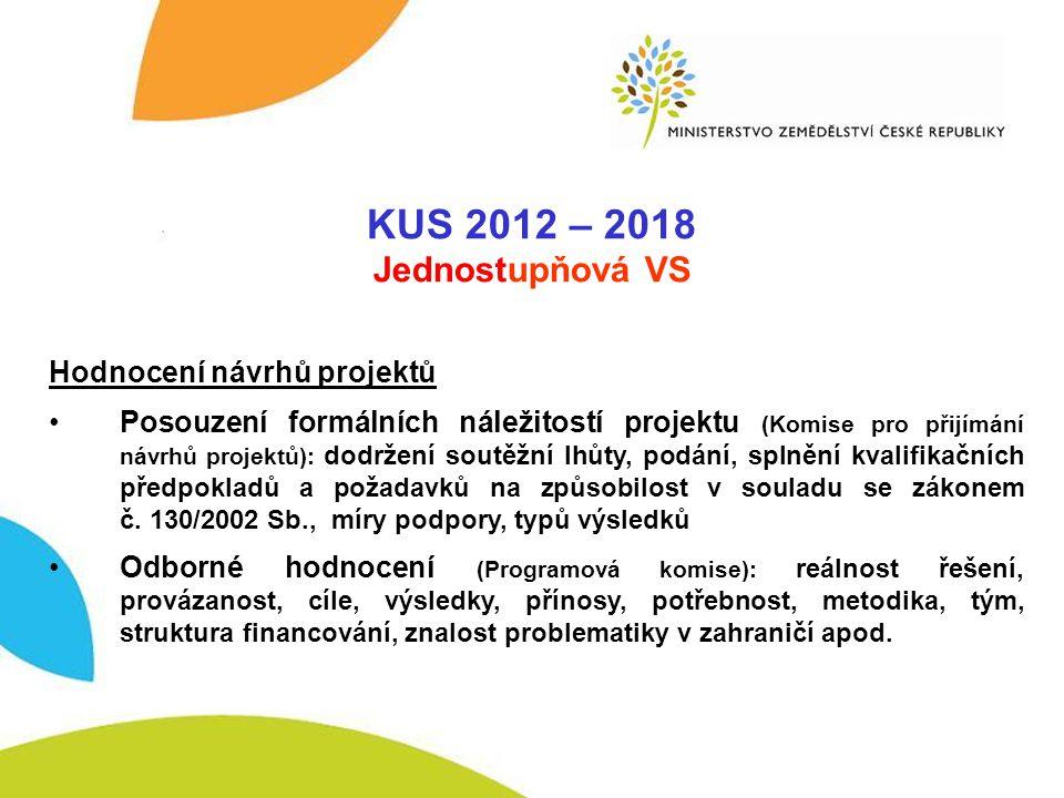 VSAK 2012-2017 KUS 2012 – 2018 Jednostupňová VS Hodnocení návrhů projektů •Posouzení formálních náležitostí projektu (Komise pro přijímání návrhů proj