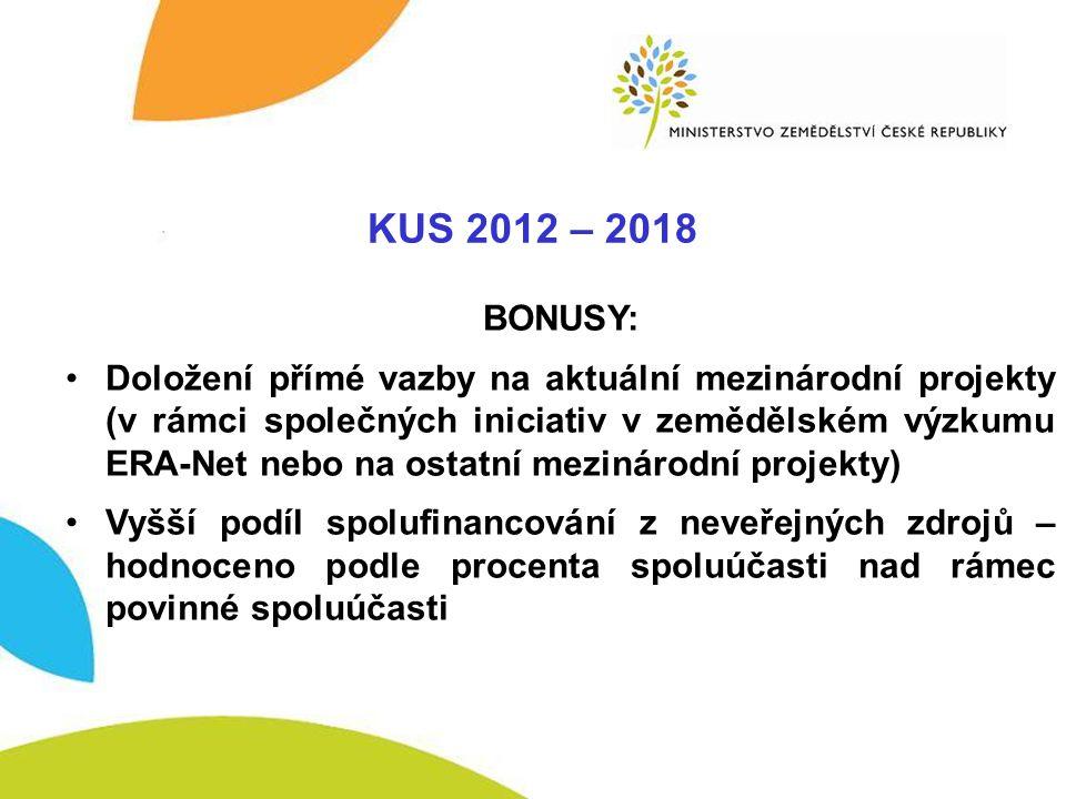 KUS - BONUSY KUS 2012 – 2018 BONUSY: •Doložení přímé vazby na aktuální mezinárodní projekty (v rámci společných iniciativ v zemědělském výzkumu ERA-Ne