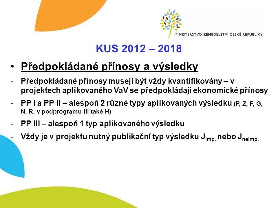 KUS – Komplexnost KUS 2012 – 2018 •Předpokládané přínosy a výsledky -Předpokládané přínosy musejí být vždy kvantifikovány – v projektech aplikovaného