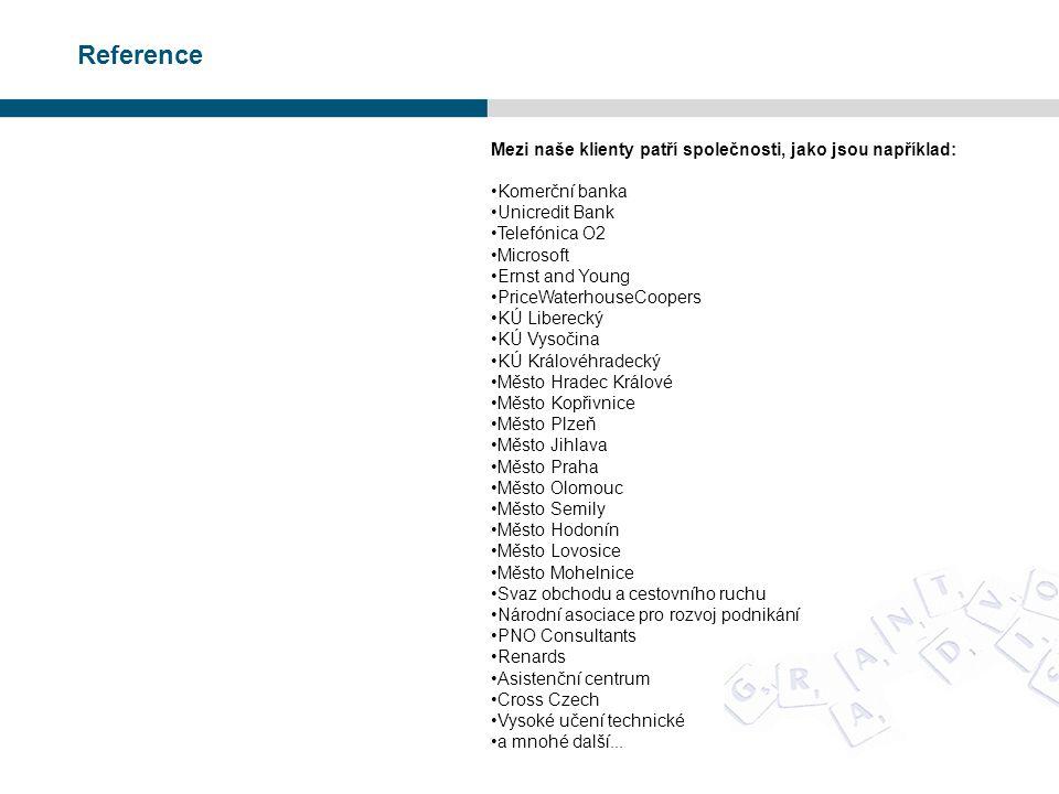 Reference Mezi naše klienty patří společnosti, jako jsou například: •Komerční banka •Unicredit Bank •Telefónica O2 •Microsoft •Ernst and Young •PriceW