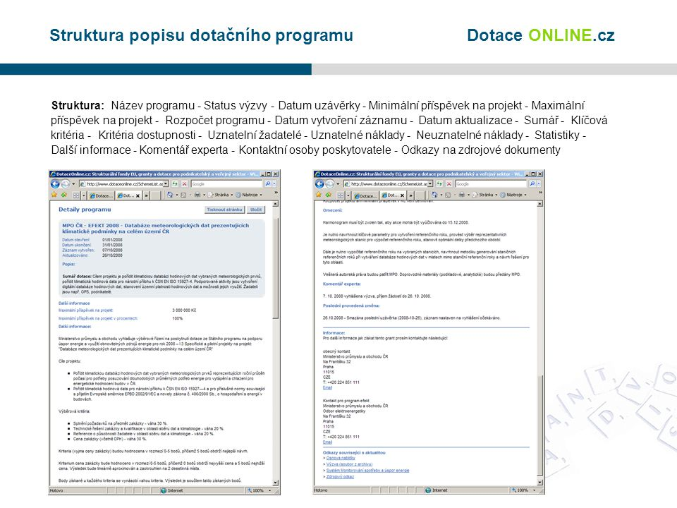 Struktura popisu dotačního programu Struktura: Název programu - Status výzvy - Datum uzávěrky - Minimální příspěvek na projekt - Maximální příspěvek na projekt - Rozpočet programu - Datum vytvoření záznamu - Datum aktualizace - Sumář - Klíčová kritéria - Kritéria dostupnosti - Uznatelní žadatelé - Uznatelné náklady - Neuznatelné náklady - Statistiky - Další informace - Komentář experta - Kontaktní osoby poskytovatele - Odkazy na zdrojové dokumenty Dotace ONLINE.cz