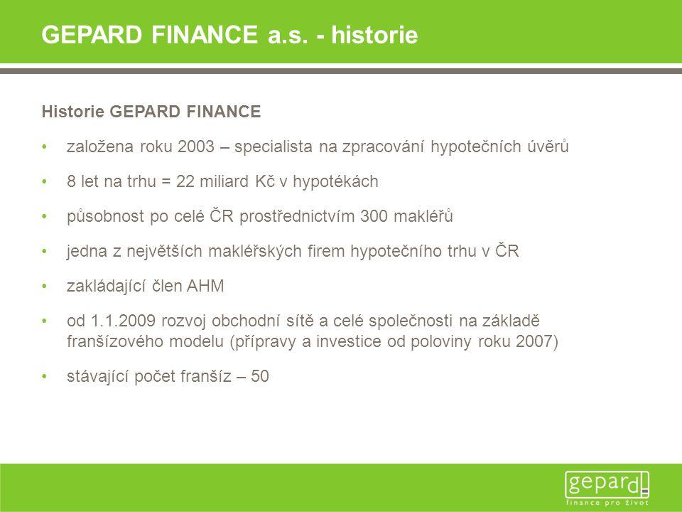 GEPARD FINANCE a.s. - historie Historie GEPARD FINANCE •založena roku 2003 – specialista na zpracování hypotečních úvěrů •8 let na trhu = 22 miliard K