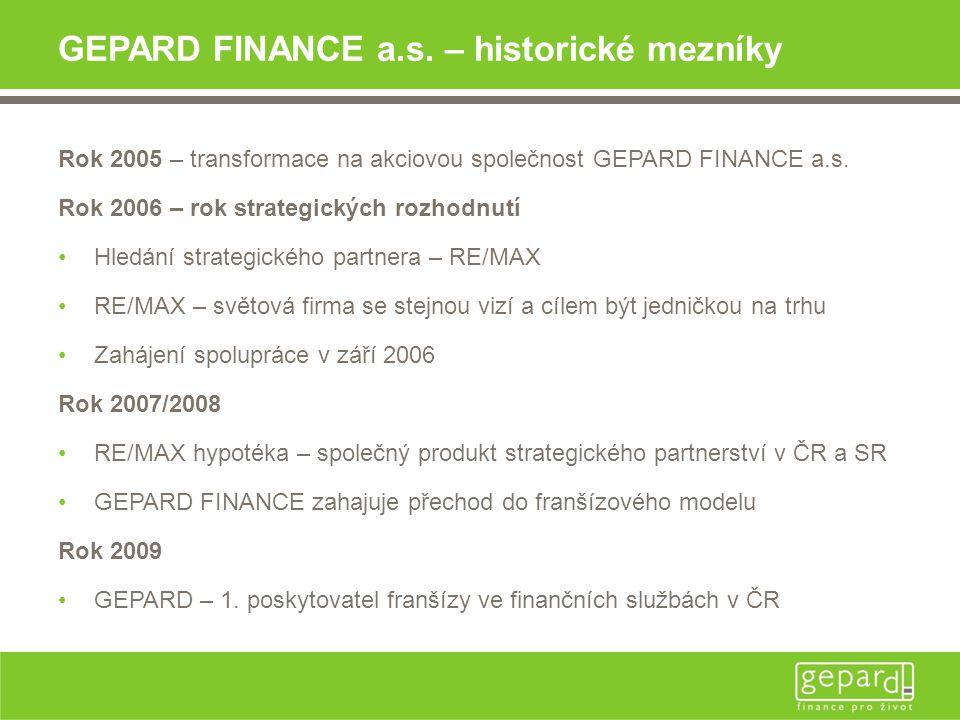 GEPARD FINANCE a.s. – historické mezníky Rok 2005 – transformace na akciovou společnost GEPARD FINANCE a.s. Rok 2006 – rok strategických rozhodnutí •H