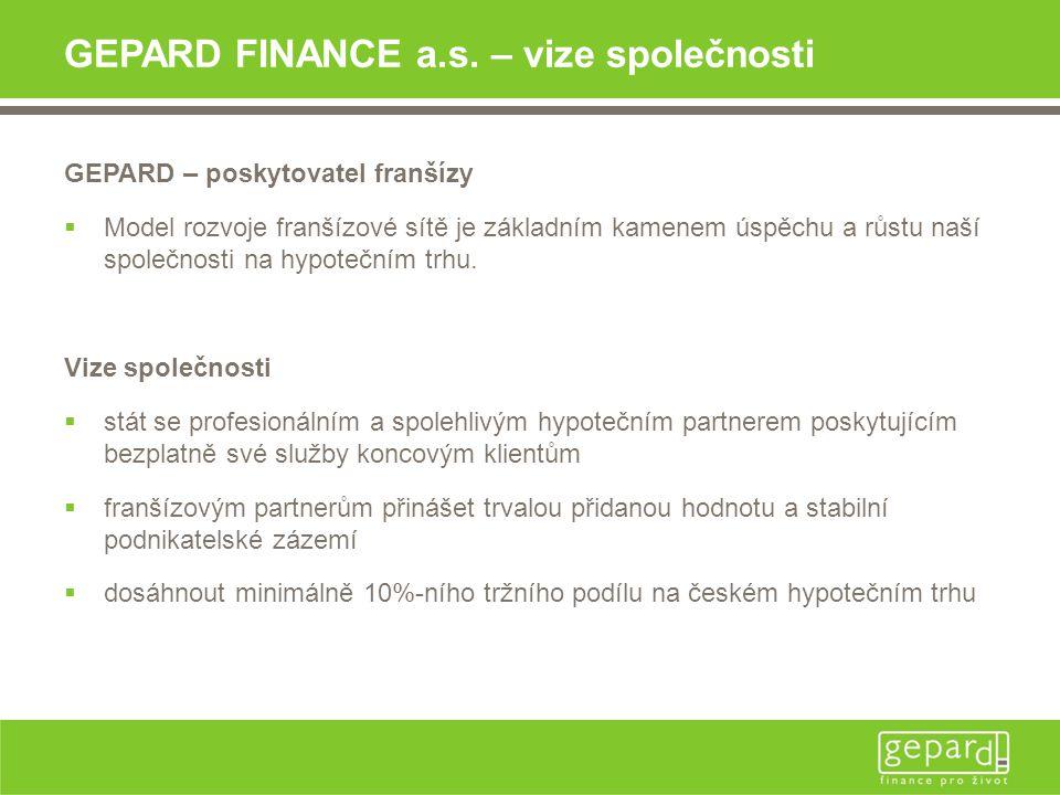 GEPARD FINANCE a.s. – vize společnosti GEPARD – poskytovatel franšízy  Model rozvoje franšízové sítě je základním kamenem úspěchu a růstu naší společ