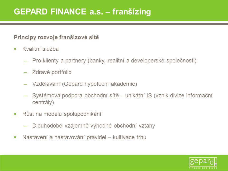 GEPARD FINANCE a.s. – franšízing Principy rozvoje franšízové sítě  Kvalitní služba –Pro klienty a partnery (banky, realitní a developerské společnost