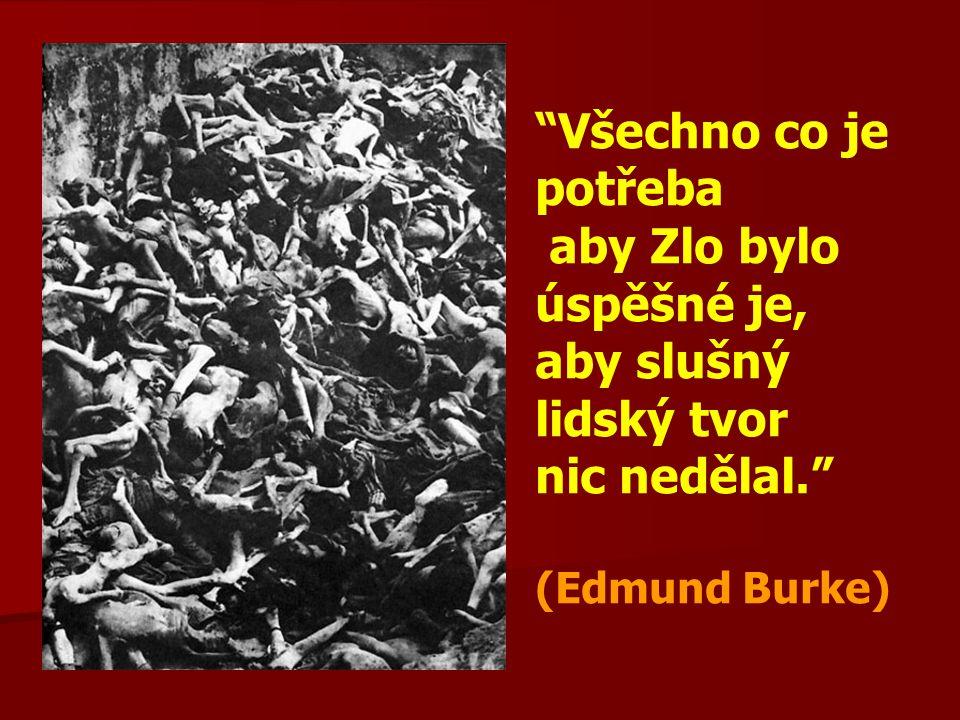 Všechno co je potřeba aby Zlo bylo úspěšné je, aby slušný lidský tvor nic nedělal. (Edmund Burke)