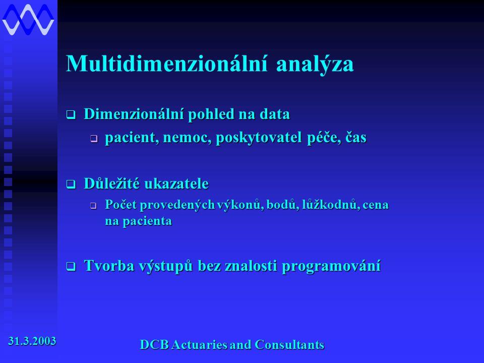 Multidimenzionální analýza  Dimenzionální pohled na data  pacient, nemoc, poskytovatel péče, čas  Důležité ukazatele  Počet provedených výkonů, bodů, lůžkodnů, cena na pacienta  Tvorba výstupů bez znalosti programování 31.3.2003 31.3.2003 DCB Actuaries and Consultants