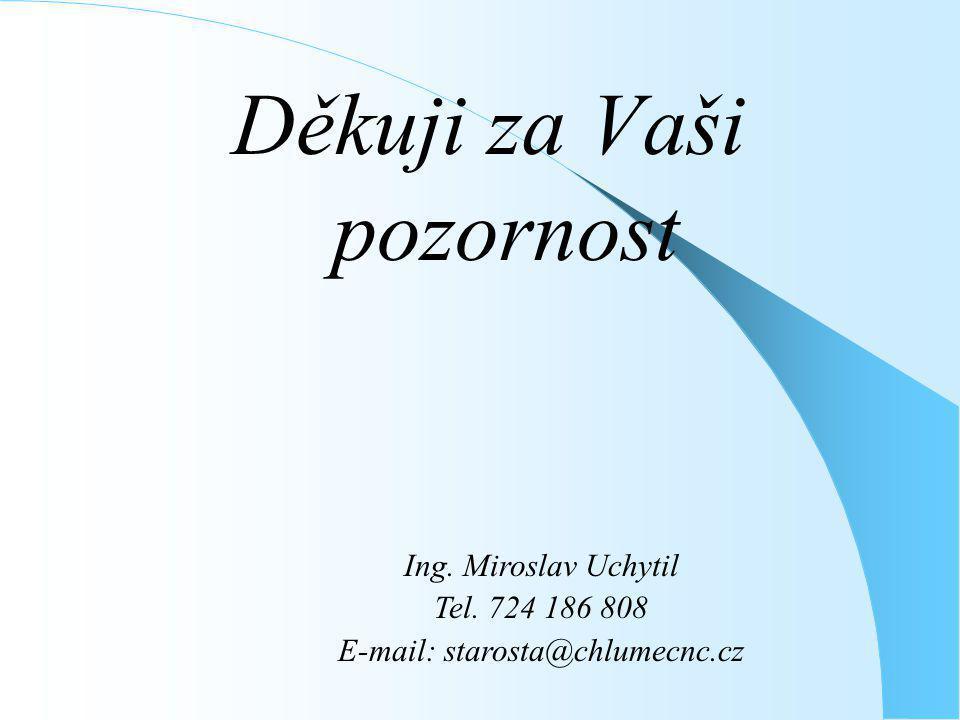 Děkuji za Vaši pozornost Ing. Miroslav Uchytil Tel. 724 186 808 E-mail: starosta@chlumecnc.cz