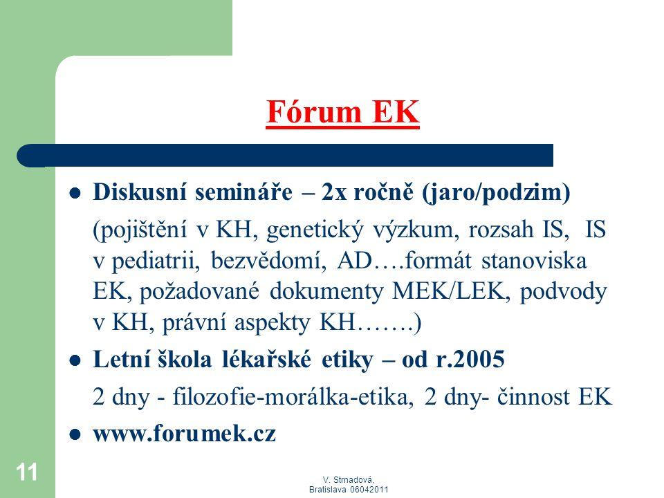 V. Strnadová, Bratislava 06042011 Fórum EK  Diskusní semináře – 2x ročně (jaro/podzim) (pojištění v KH, genetický výzkum, rozsah IS, IS v pediatrii,