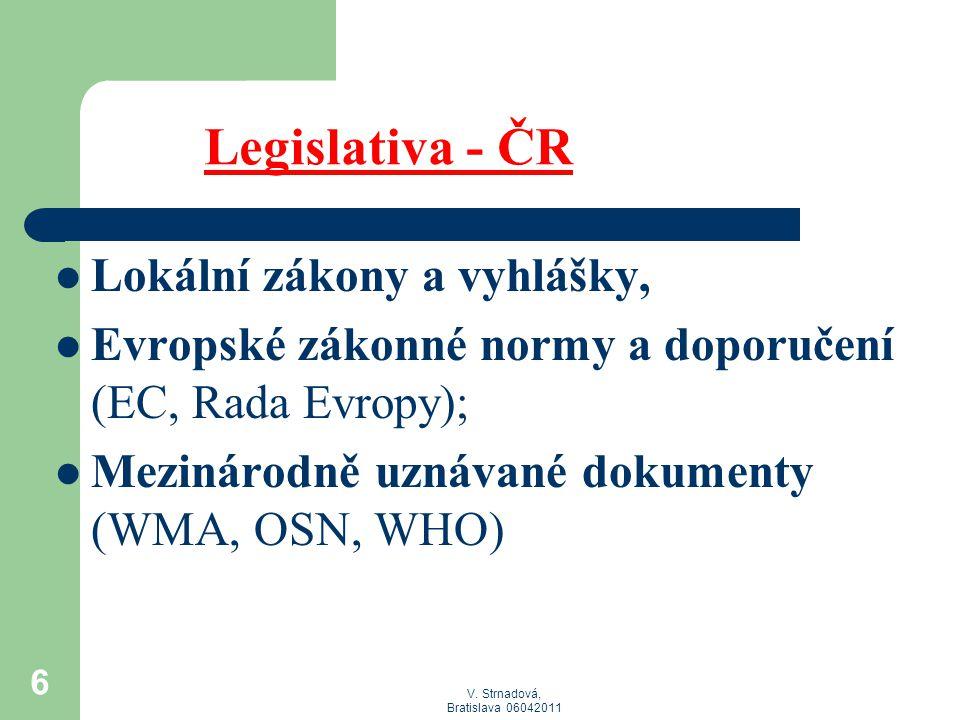 V. Strnadová, Bratislava 06042011 6 Legislativa - ČR  Lokální zákony a vyhlášky,  Evropské zákonné normy a doporučení (EC, Rada Evropy);  Mezinárod