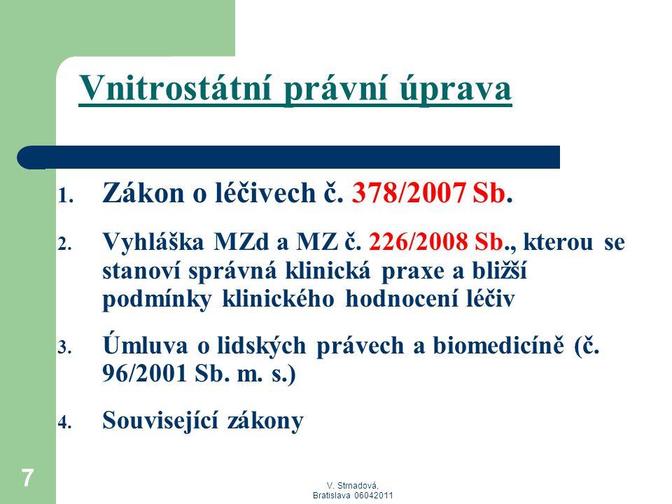 V. Strnadová, Bratislava 06042011 7 Vnitrostátní právní úprava 1. Zákon o léčivech č. 378/2007 Sb. 2. Vyhláška MZd a MZ č. 226/2008 Sb., kterou se sta