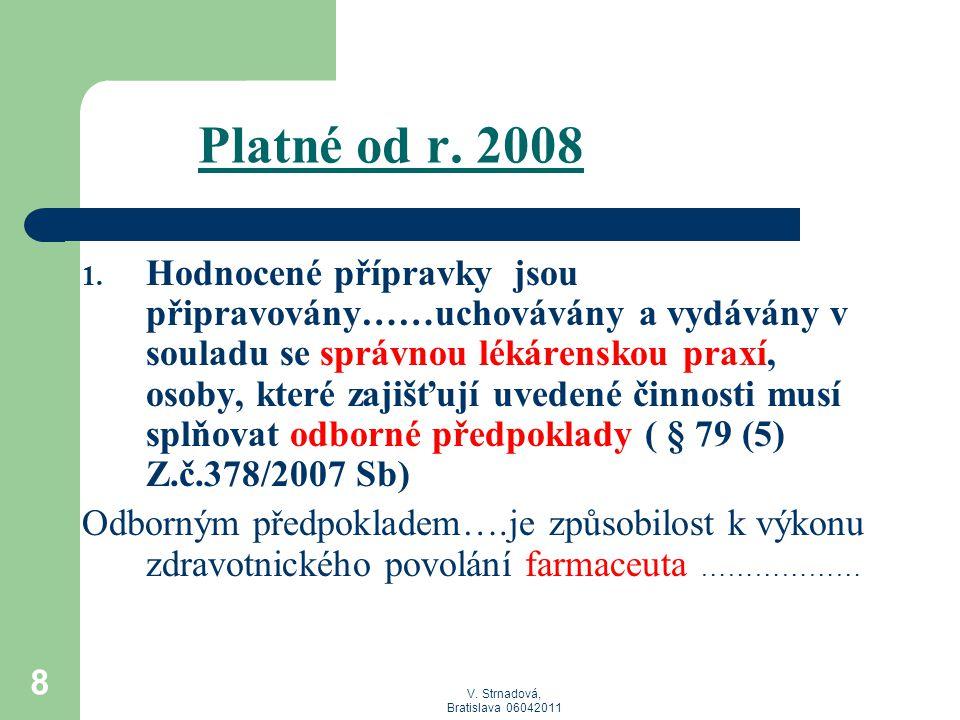 V. Strnadová, Bratislava 06042011 8 Platné od r. 2008 1. Hodnocené přípravky jsou připravovány……uchovávány a vydávány v souladu se správnou lékárensko