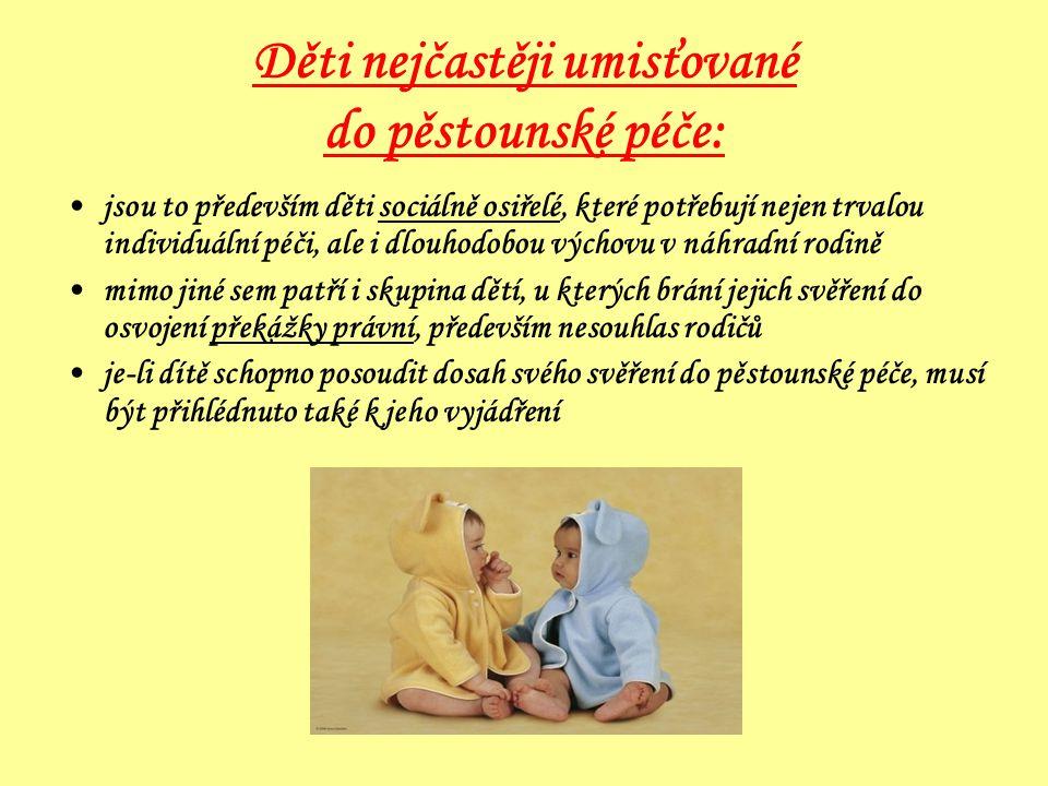Děti nejčastěji umisťované do pěstounské péče: •jsou to především děti sociálně osiřelé, které potřebují nejen trvalou individuální péči, ale i dlouho