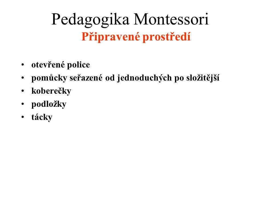Připravené prostředí •otevřené police •pomůcky seřazené od jednoduchých po složitější •koberečky •podložky •tácky Pedagogika Montessori