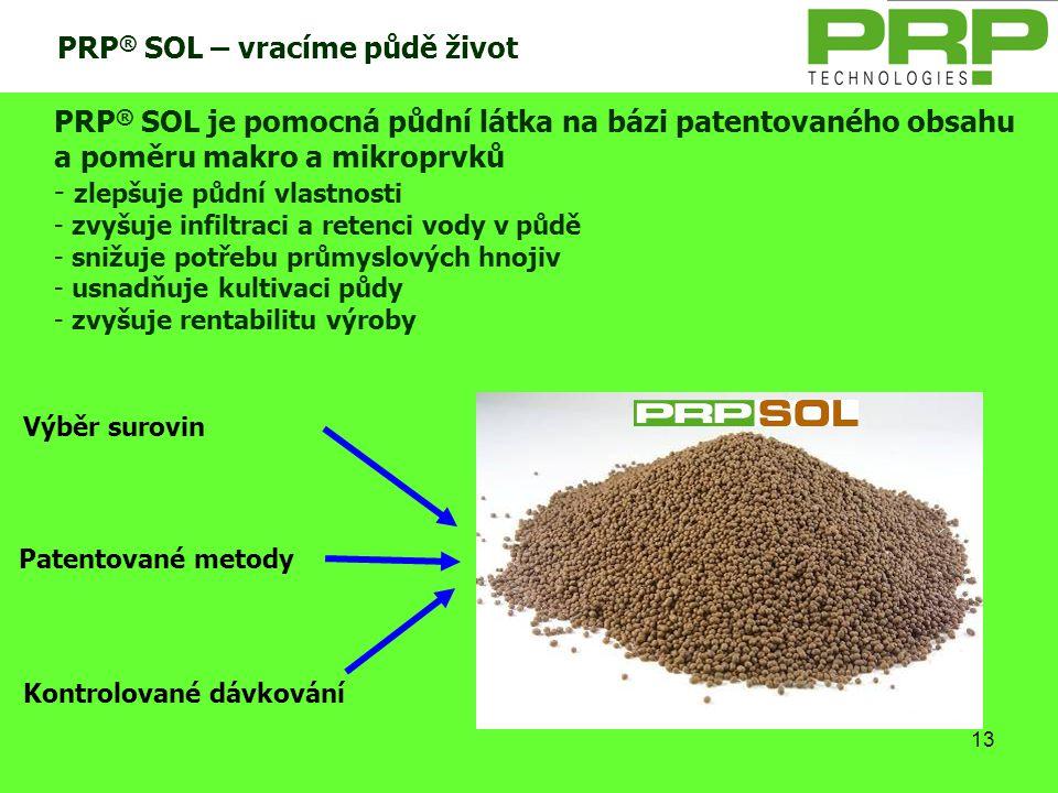 13 PRP ® SOL – vracíme půdě život Patentované metody Výběr surovin Kontrolované dávkování PRP ® SOL je pomocná půdní látka na bázi patentovaného obsah