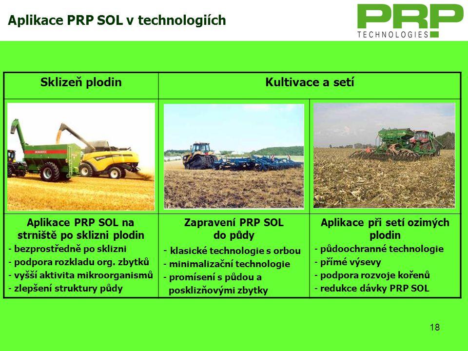18 Aplikace PRP SOL v technologiích Sklizeň plodinKultivace a setí Aplikace PRP SOL na strniště po sklizni plodin - bezprostředně po sklizni - podpora