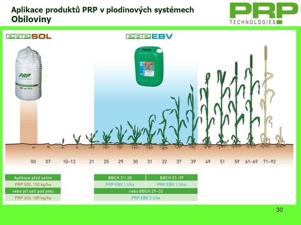 30 Aplikace produktů PRP v plodinových systémech Obiloviny