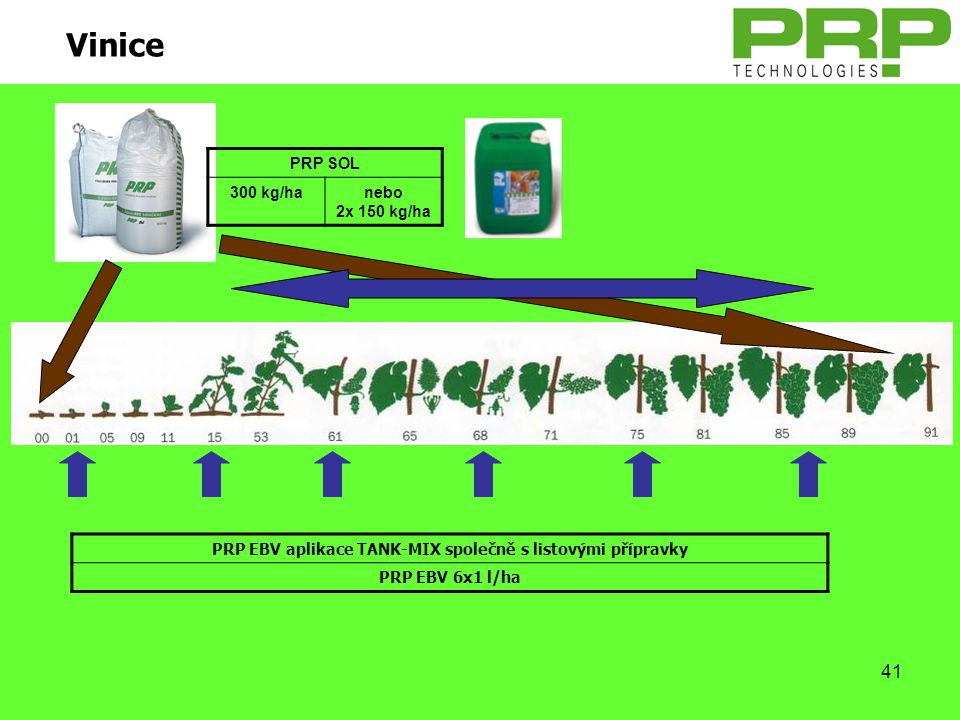 41 Vinice PRP EBV aplikace TANK-MIX společně s listovými přípravky PRP EBV 6x1 l/ha PRP SOL 300 kg/hanebo 2x 150 kg/ha