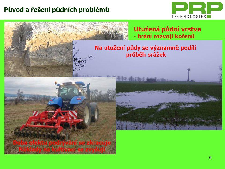 6 Utužená půdní vrstva - brání rozvoji kořenů - limituje příjem vody a živin - zhoršuje zpracování půdy - degraduje biologické vlastnosti půdy Původ a