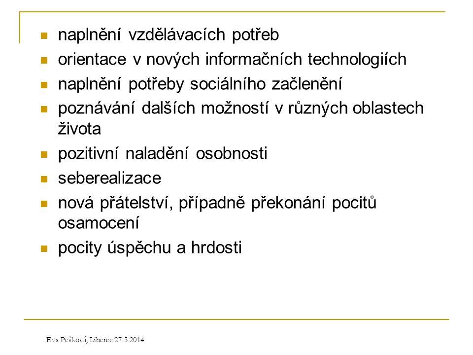 Eva Pešková, Liberec 27.5.2014  naplnění vzdělávacích potřeb  orientace v nových informačních technologiích  naplnění potřeby sociálního začlenění