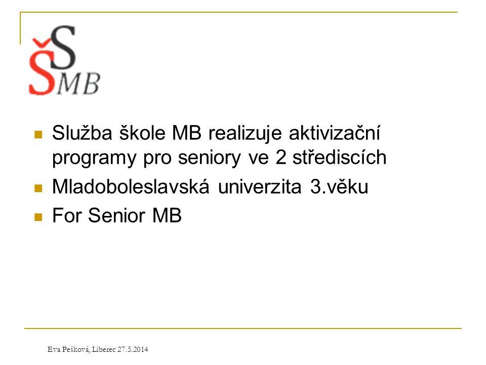 Eva Pešková, Liberec 27.5.2014  Služba škole MB realizuje aktivizační programy pro seniory ve 2 střediscích  Mladoboleslavská univerzita 3.věku  Fo