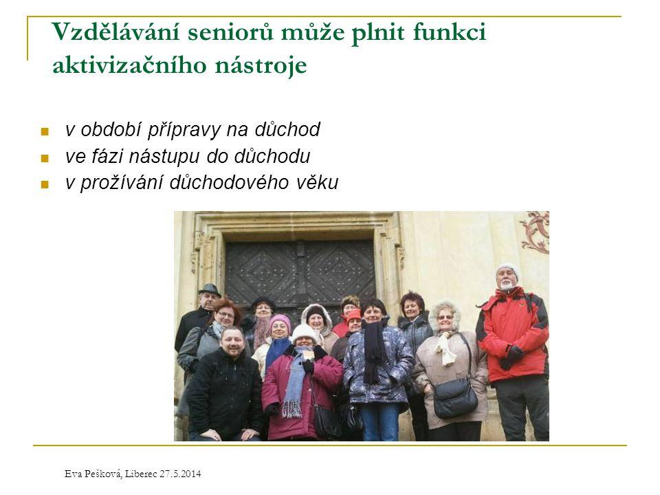 Eva Pešková, Liberec 27.5.2014 Vzdělávání seniorů může plnit funkci aktivizačního nástroje  v období přípravy na důchod  ve fázi nástupu do důchodu