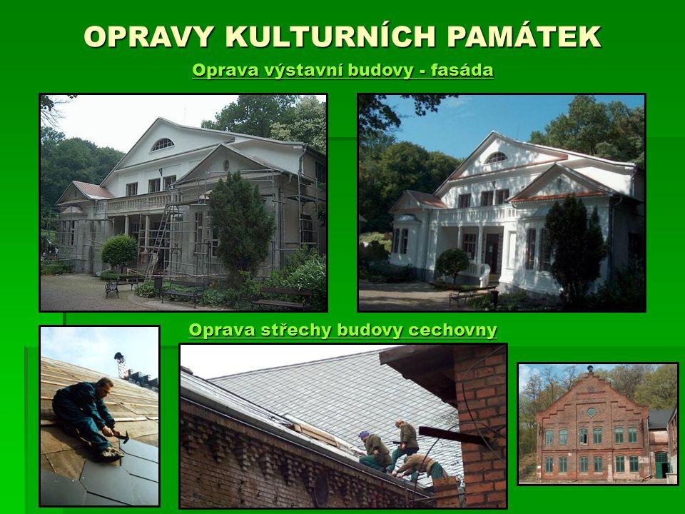 OPRAVY KULTURNÍCH PAMÁTEK Oprava výstavní budovy - fasáda Oprava střechy budovy cechovny