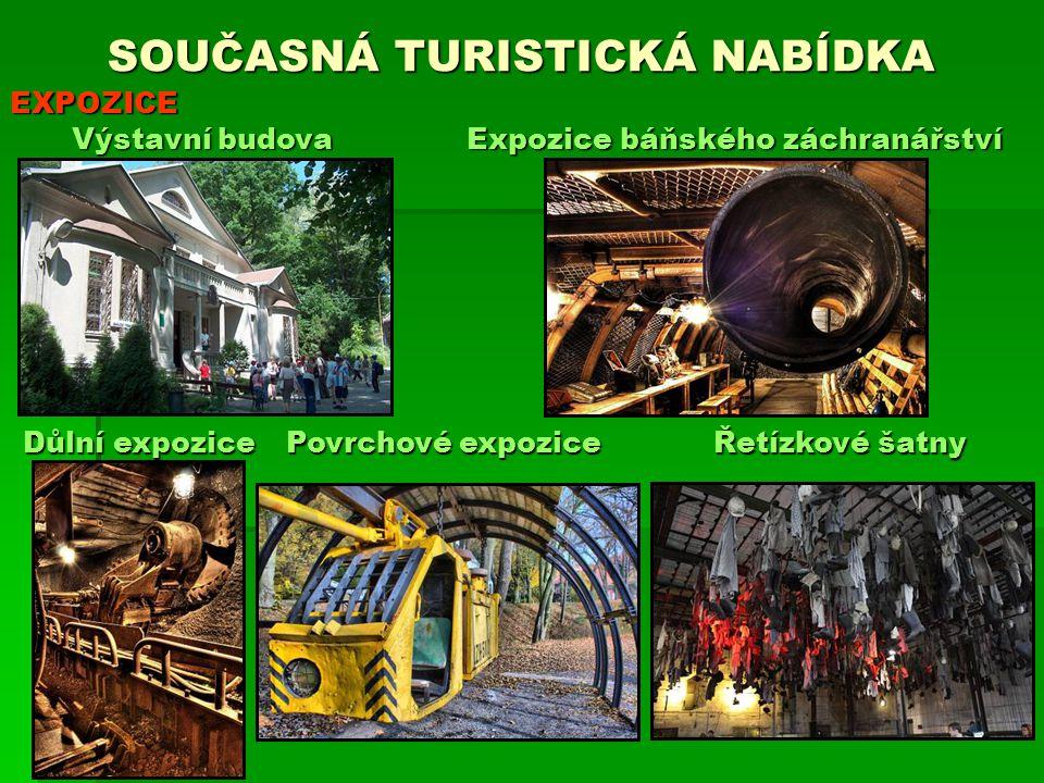 SOUČASNÁ TURISTICKÁ NABÍDKA EXPOZICE Důlní expozice Expozice báňského záchranářství Výstavní budova Řetízkové šatny Povrchové expozice