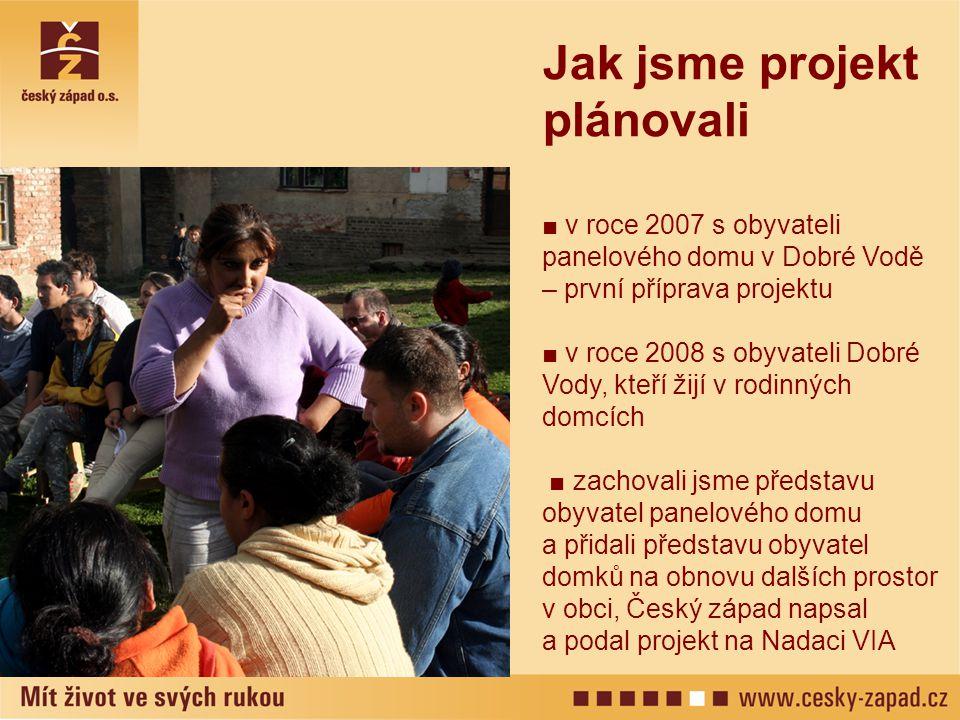 Jak jsme projekt plánovali ■ v roce 2007 s obyvateli panelového domu v Dobré Vodě – první příprava projektu ■ v roce 2008 s obyvateli Dobré Vody, kteř