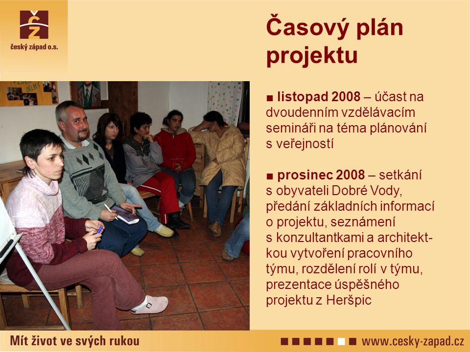 ■ listopad 2008 – účast na dvoudenním vzdělávacím semináři na téma plánování s veřejností ■ prosinec 2008 – setkání s obyvateli Dobré Vody, předání zá