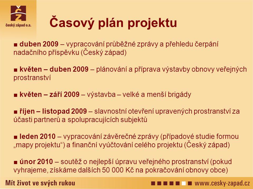 ■ duben 2009 – vypracování průběžné zprávy a přehledu čerpání nadačního příspěvku (Český západ) ■ květen – duben 2009 – plánování a příprava výstavby