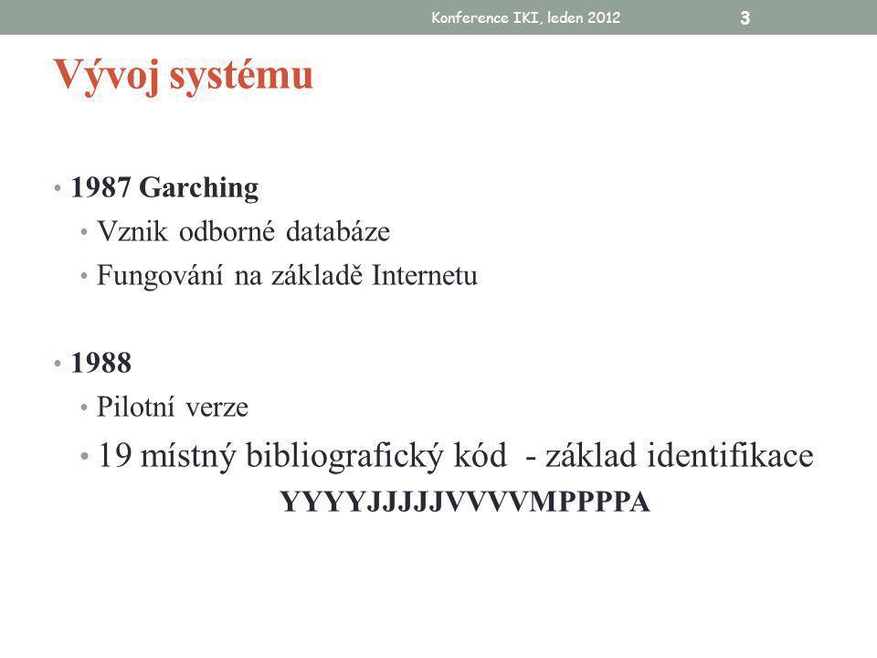 Konference IKI, leden 2012 3 Vývoj systému • 1987 Garching • Vznik odborné databáze • Fungování na základě Internetu • 1988 • Pilotní verze • 19 místný bibliografický kód - základ identifikace YYYYJJJJJVVVVMPPPPA