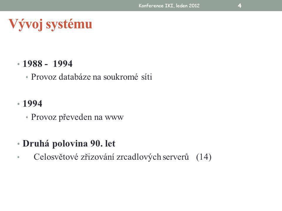 Konference IKI, leden 2012 4 Vývoj systému • 1988 - 1994 • Provoz databáze na soukromé síti • 1994 • Provoz převeden na www • Druhá polovina 90.