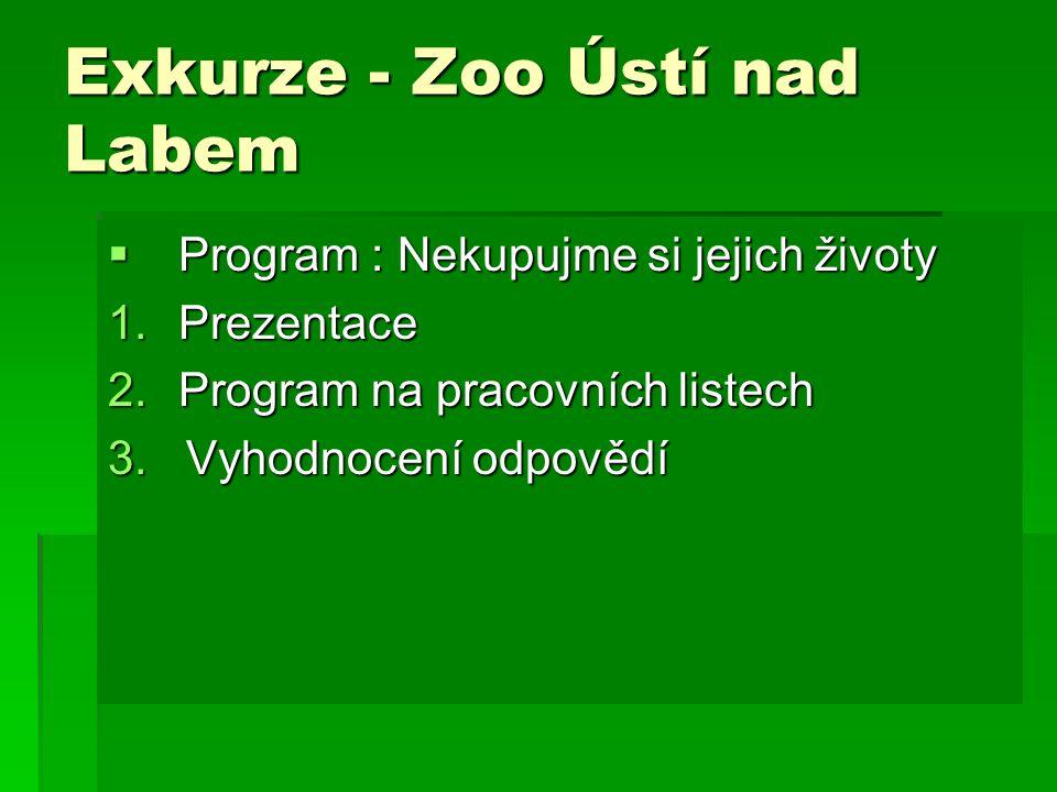 Exkurze - Zoo Ústí nad Labem  Program : Nekupujme si jejich životy 1.Prezentace 2.Program na pracovních listech 3.