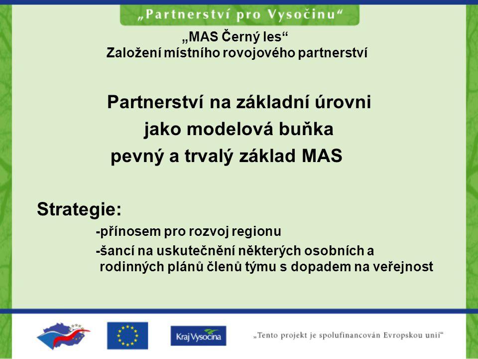 """""""MAS Černý les Založení místního rovojového partnerství Partnerství na základní úrovni jako modelová buňka pevný a trvalý základ MAS Strategie: -přínosem pro rozvoj regionu -šancí na uskutečnění některých osobních a rodinných plánů členů týmu s dopadem na veřejnost"""
