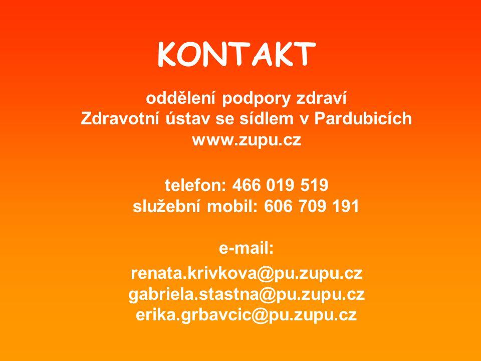 KONTAKT oddělení podpory zdraví Zdravotní ústav se sídlem v Pardubicích www.zupu.cz telefon: 466 019 519 služební mobil: 606 709 191 e-mail: renata.krivkova@pu.zupu.cz gabriela.stastna@pu.zupu.cz erika.grbavcic@pu.zupu.cz