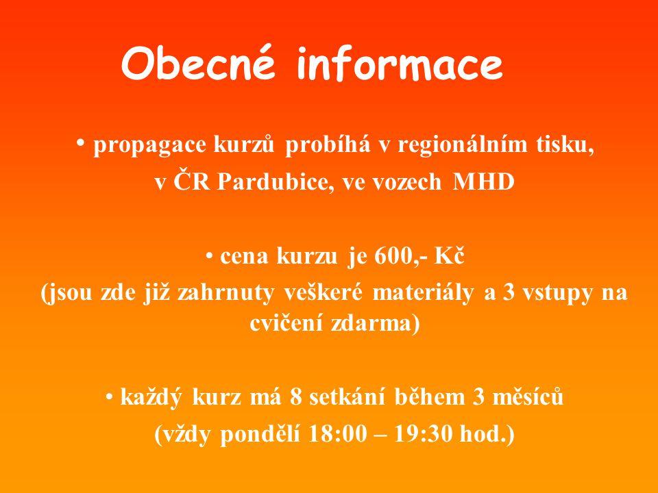 Obecné informace • propagace kurzů probíhá v regionálním tisku, v ČR Pardubice, ve vozech MHD • cena kurzu je 600,- Kč (jsou zde již zahrnuty veškeré materiály a 3 vstupy na cvičení zdarma) • každý kurz má 8 setkání během 3 měsíců (vždy pondělí 18:00 – 19:30 hod.)
