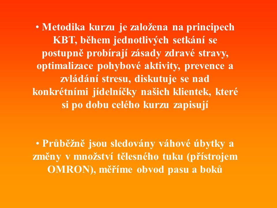 • Metodika kurzu je založena na principech KBT, během jednotlivých setkání se postupně probírají zásady zdravé stravy, optimalizace pohybové aktivity,
