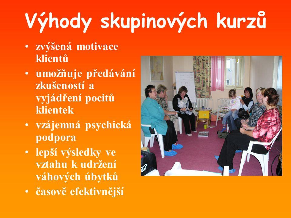 Výhody skupinových kurzů •zvýšená motivace klientů •umožňuje předávání zkušeností a vyjádření pocitů klientek •vzájemná psychická podpora •lepší výsle