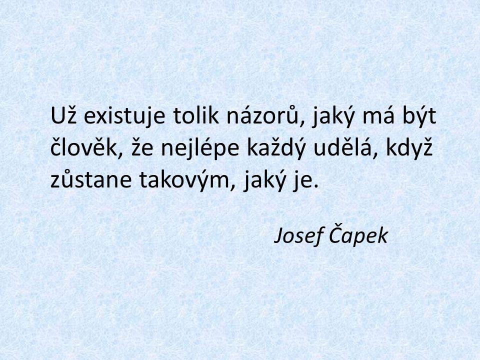 Už existuje tolik názorů, jaký má být člověk, že nejlépe každý udělá, když zůstane takovým, jaký je. Josef Čapek