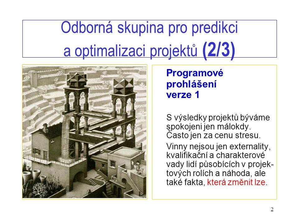 2 Odborná skupina pro predikci a optimalizaci projektů (2/3) Programové prohlášení verze 1 S výsledky projektů býváme spokojeni jen málokdy. Často jen